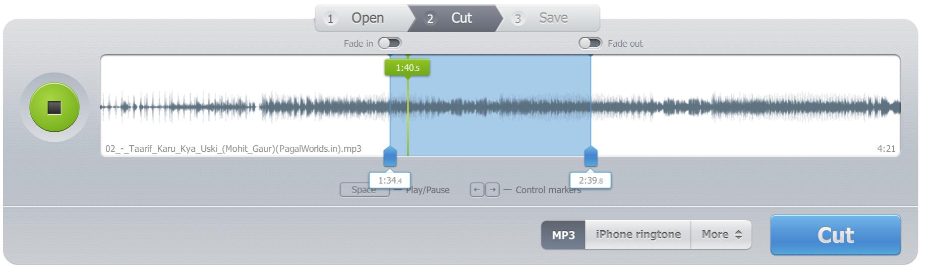 mp3cut - edit song window