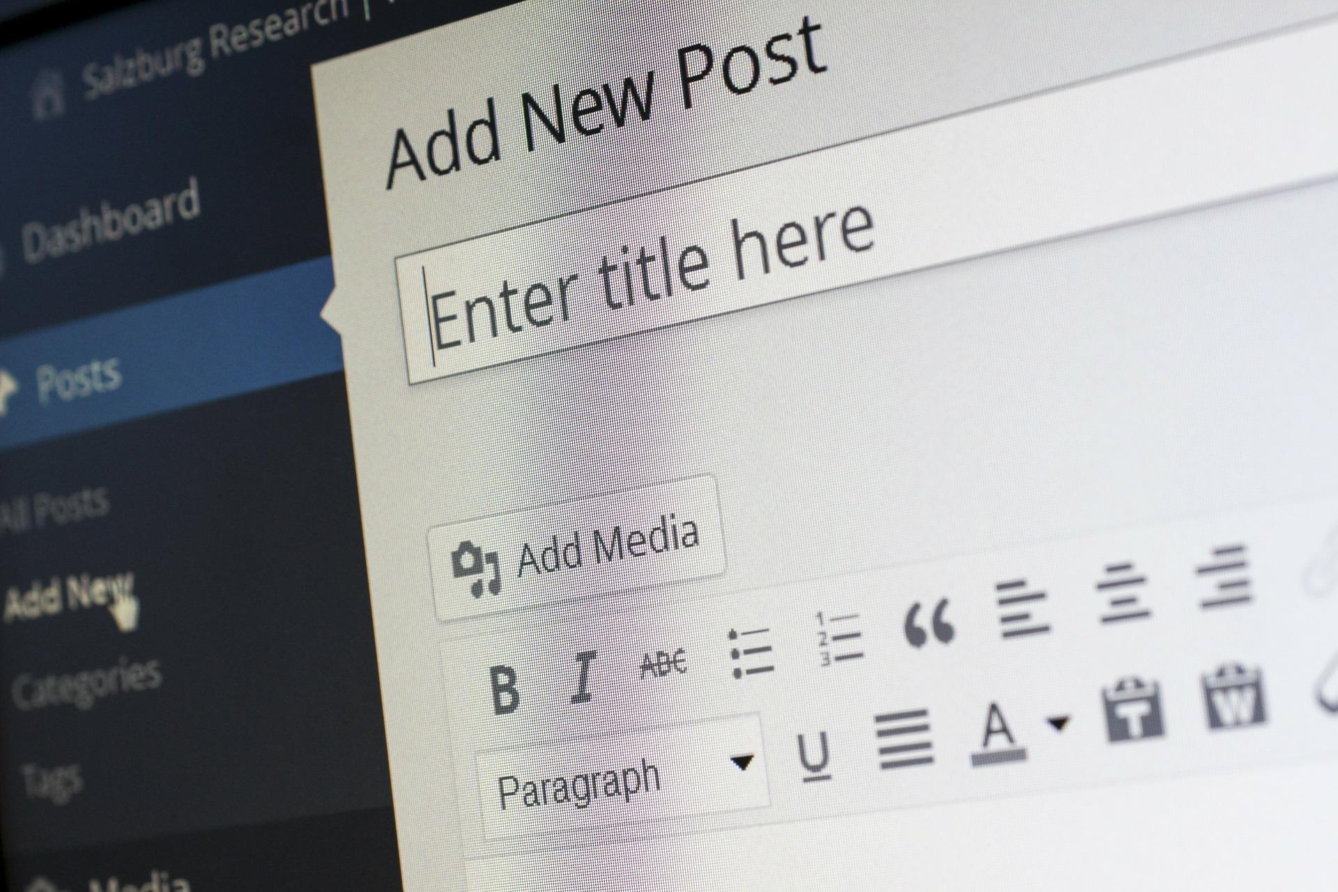 add new post wordpress page